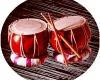 Coppia tamburo in legno